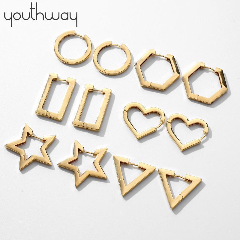 Boucles d'oreilles géométriques plates uniques Boucles d'oreilles géométriques dorées en laiton lisse étoile coeur rond triangle hexagone rectangone huggies boucles d'oreilles1
