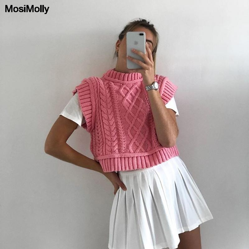 MosiMolly Pretty Pembe Triko Yelek Kadınlar Kablo Örgü Kolsuz Knits Jumper Kazaklar Süveter Kırpılmış Tankı