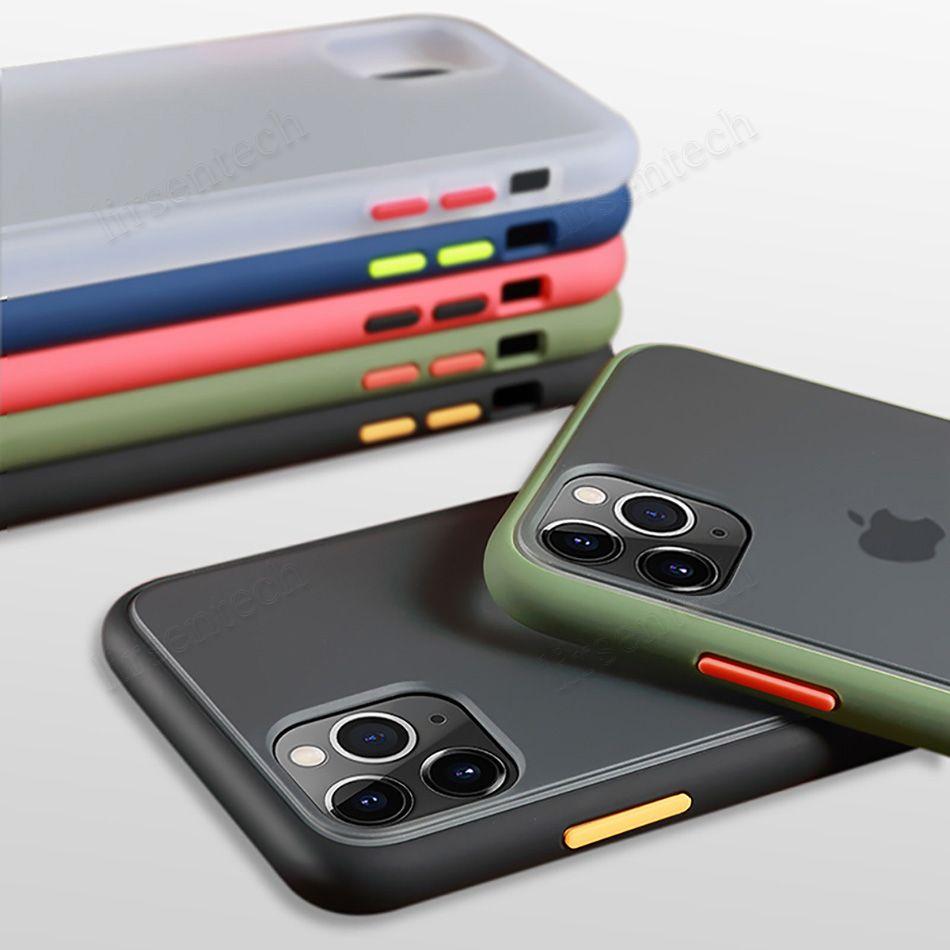 Mate caja del teléfono para el iPhone 12 11 XS MAX XR dura clara de la caja a prueba de golpes transparente del estuche rígido para el iPhone 7 11 PRO MAX armadura cubierta en bolso de OPP