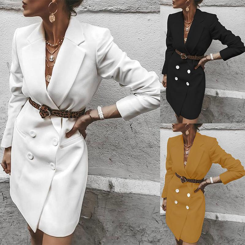 do Terno Outono Inverno Blazer Mulheres 2020 New Casual Abotoamento bolso casacos longos elegante manga comprida Blazer Feminino
