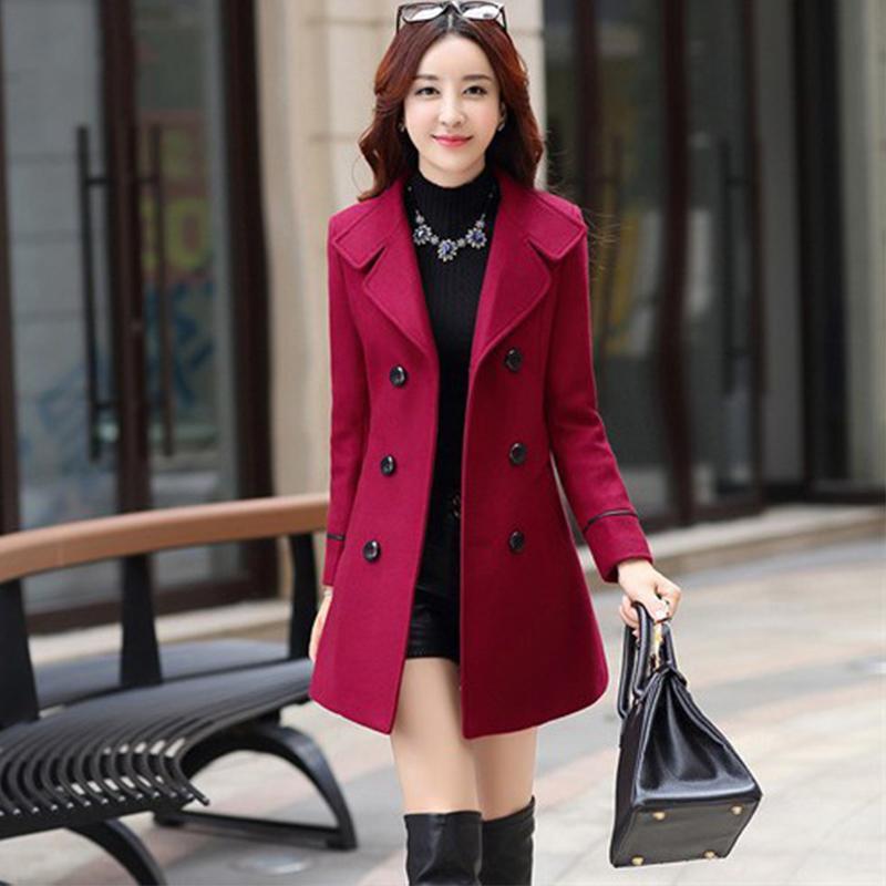 Kadın Yün Karışımı Sıcak Uzun Coat Artı Boyutu Kadın Slim Fit Yaka Yün Palto Sonbahar Kış Kaşmir Giyim 201103