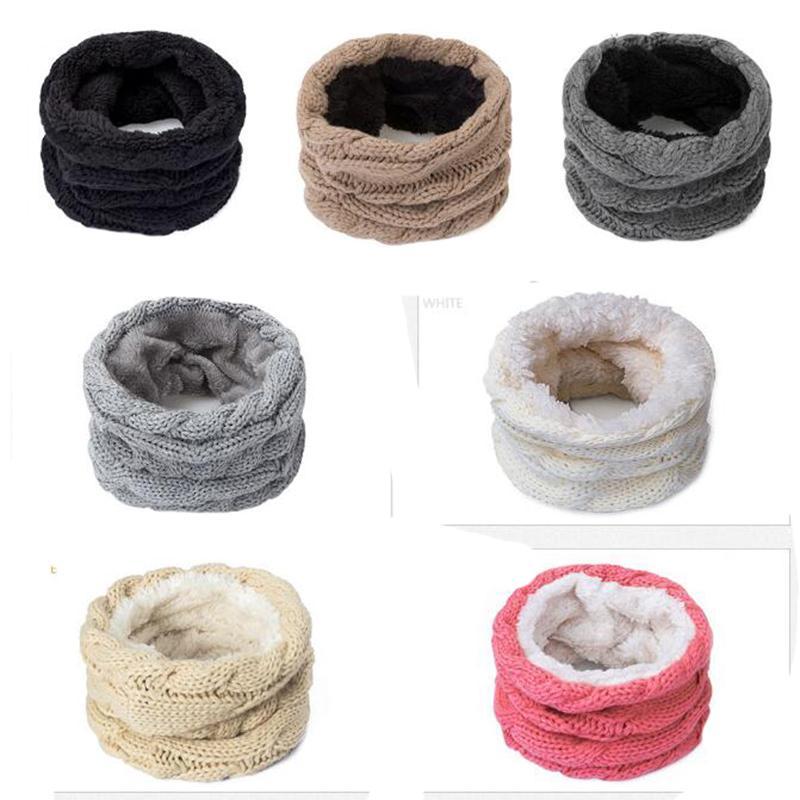 Новый женский вязаный шарф зимний теплый плюс бархат утолщение хлопковое кольцо шарфы взрослые детские петли шарф девочек унисекс