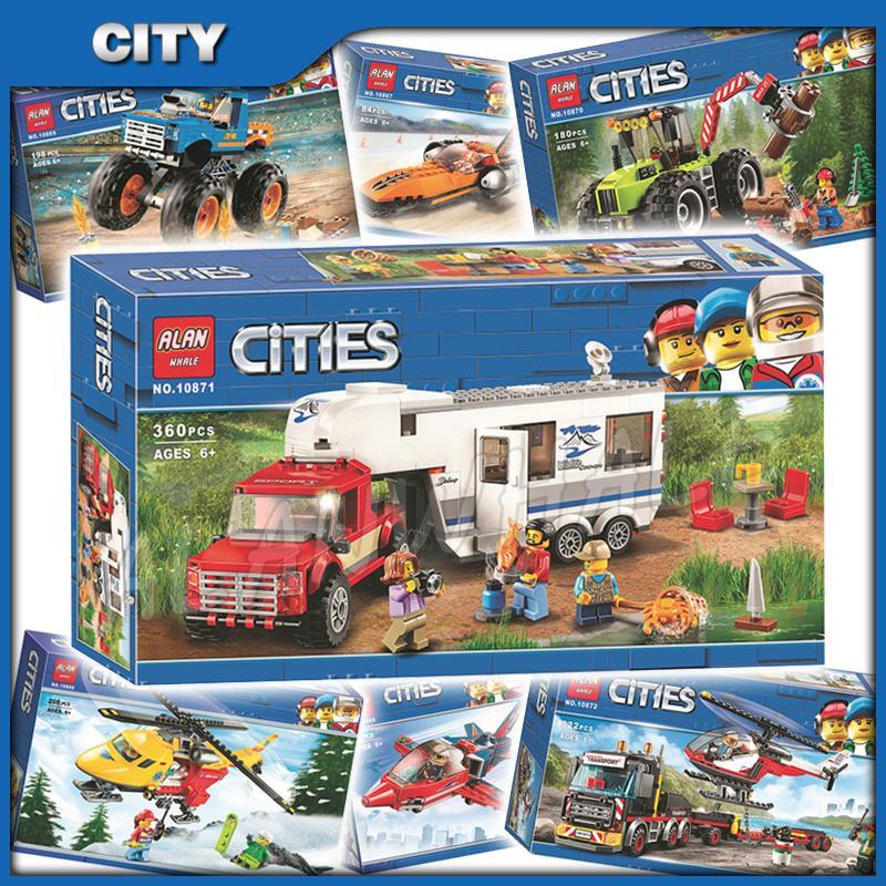 Tema kargo taşıma şehir ağır ulaşım 7Types pikap karavan araba modeli yapı taşları oyuncaklar ile uyumlu