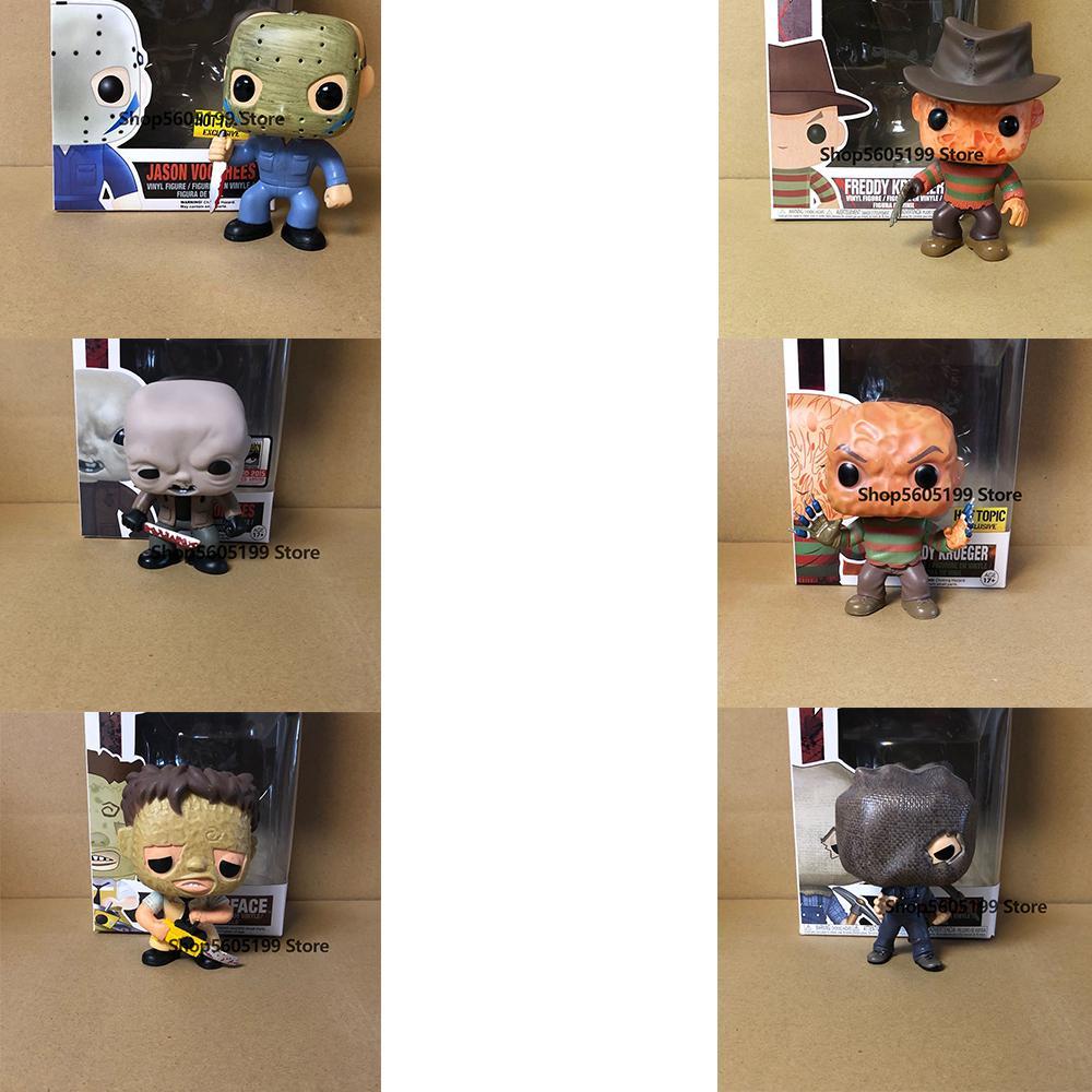Пятница 13-й Джейсон Voorhees Texas Chainsaw Massacre Leatface Pop с коробкой винила действия Рисунок Хэллоуин подарок 201202