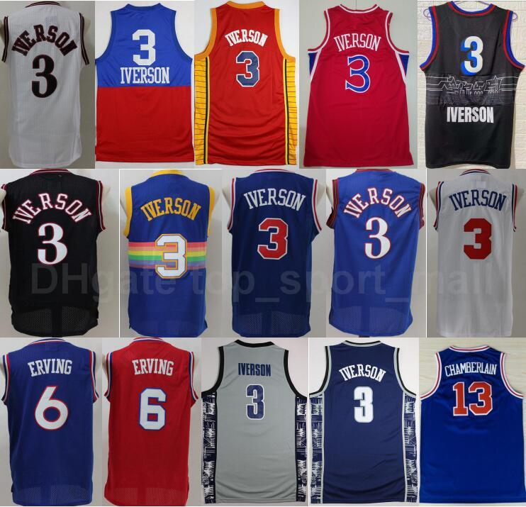 Georgetown Hoyas College Allen Iverson Jersey Erkekler Basketbol Dr J Julius Erving Wilt Chamberlain Mavi Gri Siyah Beyaz Kırmızı Kaliteli