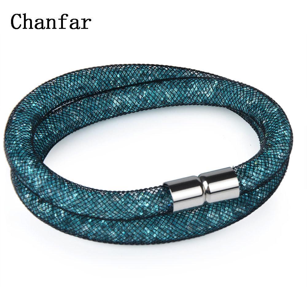 Chanfar - bellissimo braccialetto di cristallo della maglia, tubo di gioielli, chiusura a calamita, doppio braccialetto delle donne, 16 colori