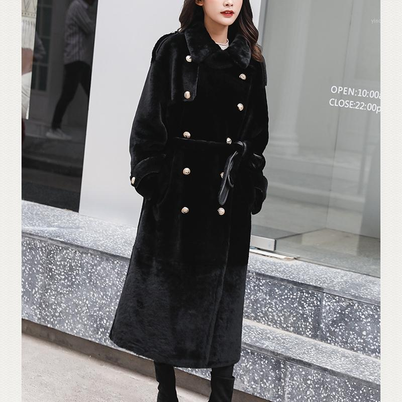 Mulheres Mulheres Faux Mulheres Casaco Long Natural Sheepskin e Outwear 2021 Inverno Moda Merino Ovelhas Windbreaker Quente Grossa1