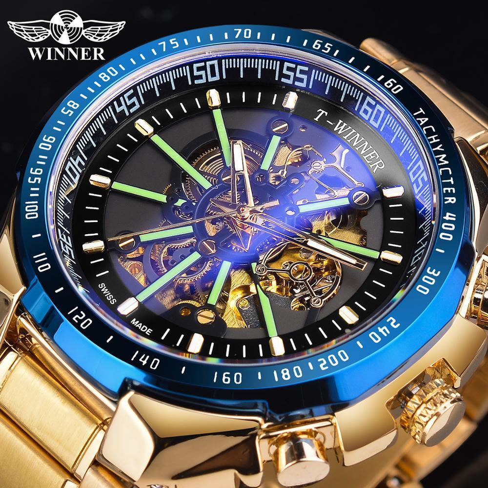 Moda azul luminosa relógios de aço inoxidável homens novo preto dourado de aço dourado vidro impermeável esporte automático relógio relógio relógio bdlmt