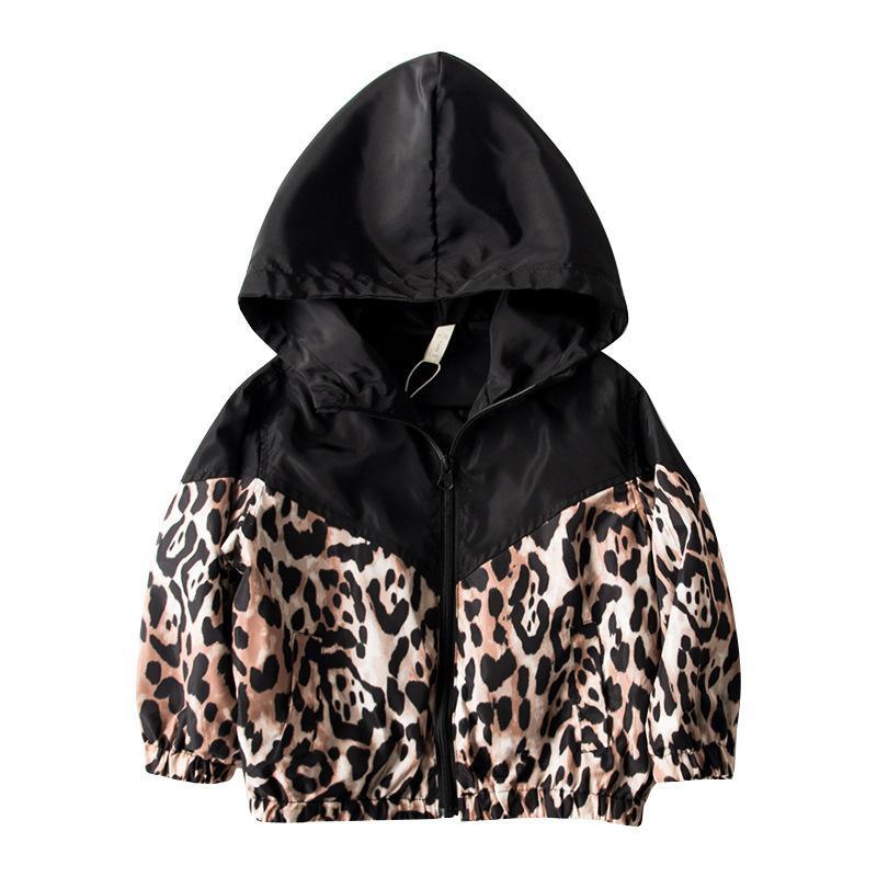 2019 Nuovo Autunno Bambino Bambini Baby Boy Girl Manica Lunga Patchwork Leopardo con cappuccio Giacca con cerniera con cappuccio Outwear Cappotto Bambini Vestiti Y200831