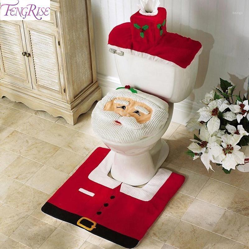 Décorations de Noël Joyeux toilettes de selle de toilette Decor Tapis Tapis Salle de bain Ensemble 2021 Décoration Navidad Cristas Noel Année 20211