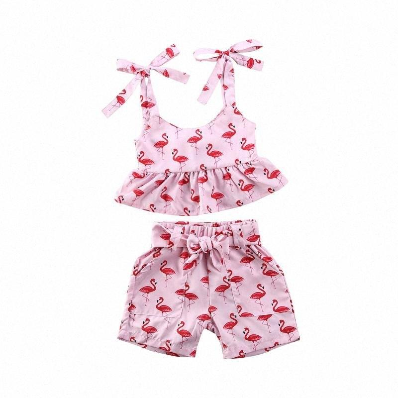 0-24M Flamingo Newborn Infant Baby Girls Clothes Vest Top Shorts Summer Outfit Set LPNp#