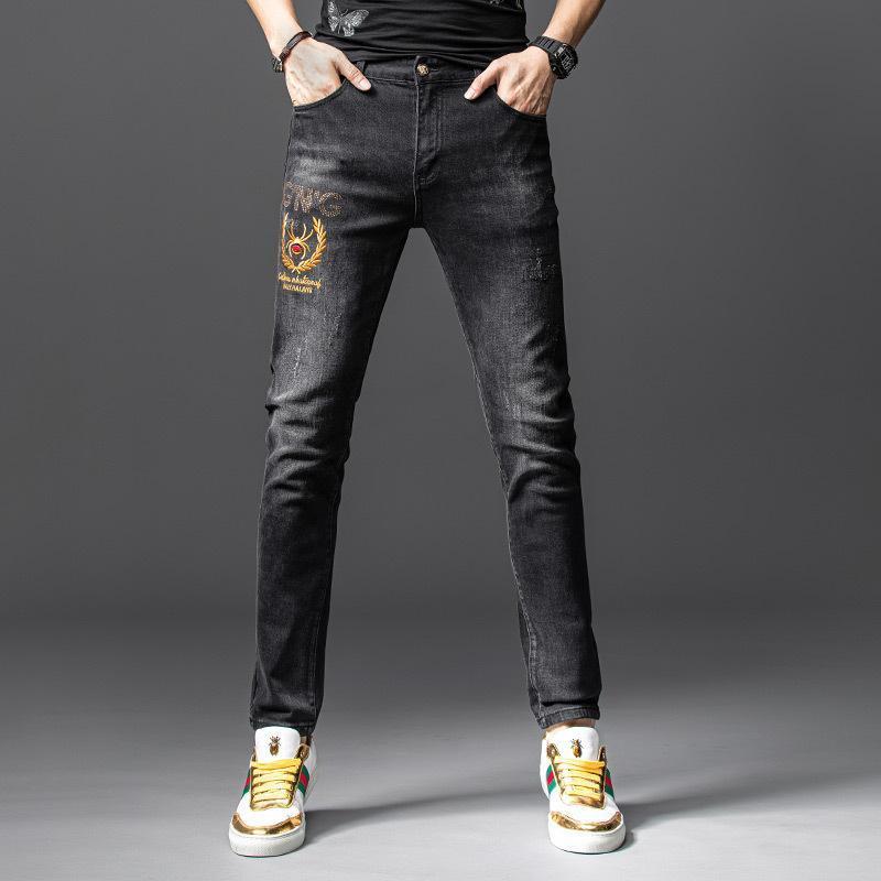 2Y sonbahar düz pantolon toptan mikro elastik kot erkekler yeni gençlik dar kesim sıcak matkap küçük bacak kot işlemeli