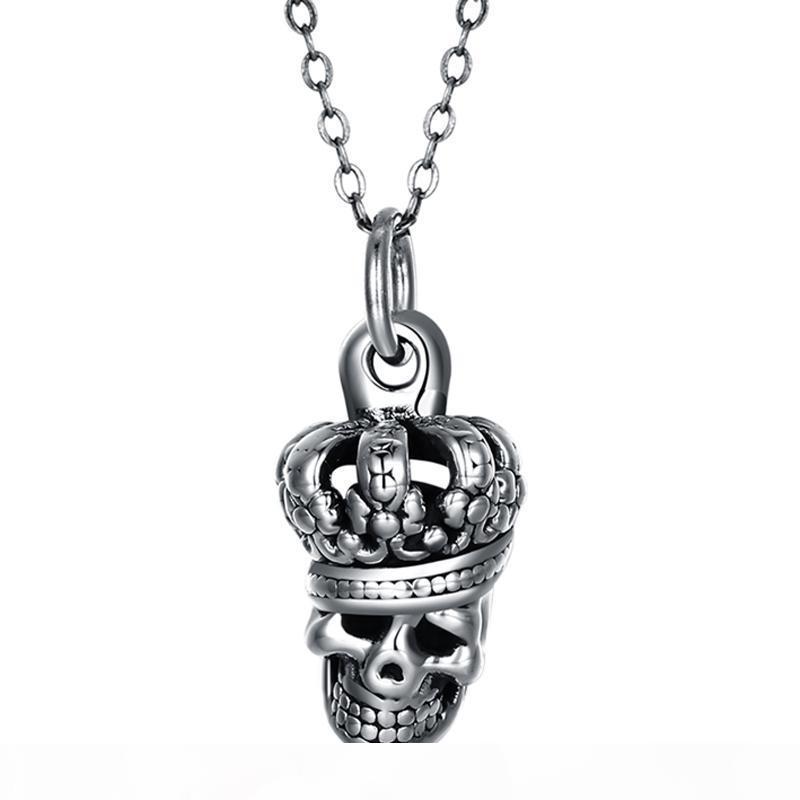 2018 Nouvelle Arrivée 925 Sterling Silver Mode Vintage Skull Pendentif Collier Fine Bijoux Fabrication Pour Hommes et Femmes Cadeaux Livraison Gratuite SVN214