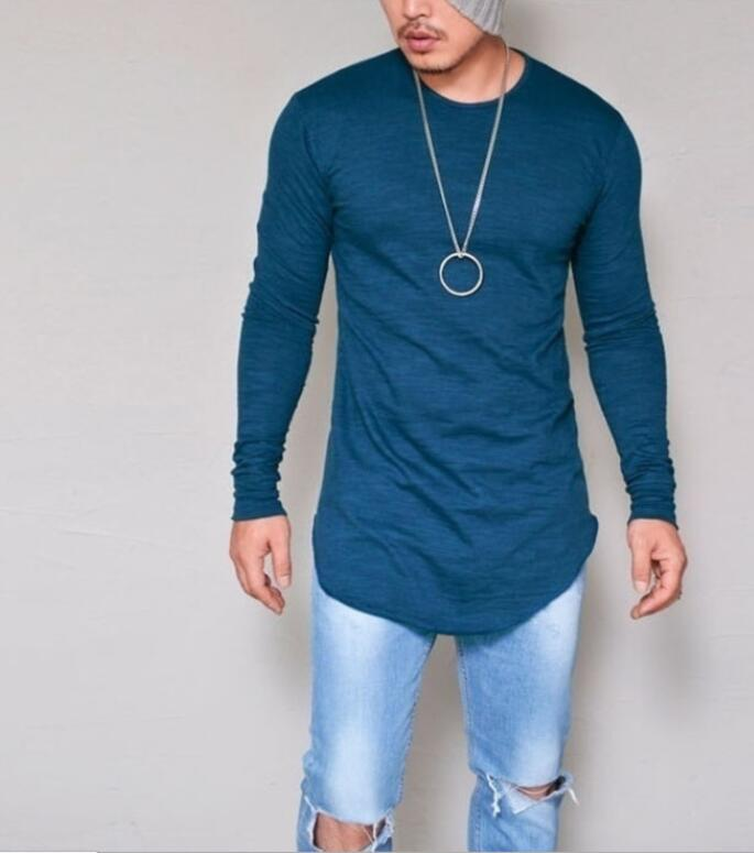 2021New Hombres Casual T Shirt 100% algodón manga larga Silm Silm Silm Fit camiseta Moda Moda Sólido Color Tshirt Ropa de los hombres M-2XL