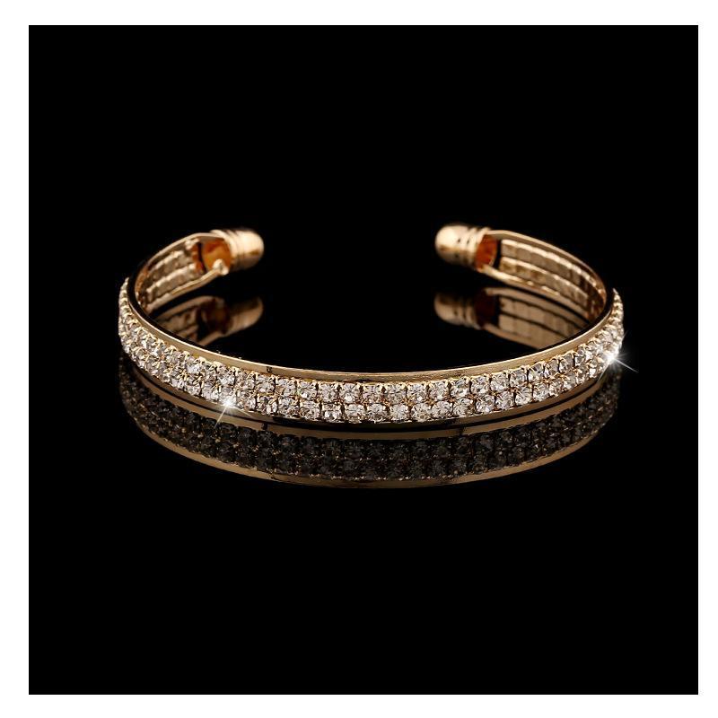 Gioielli Bonlavie Moda popolare Oro popolare e argento Colore in pietra incrostato 2 righe Braccialetto aperto
