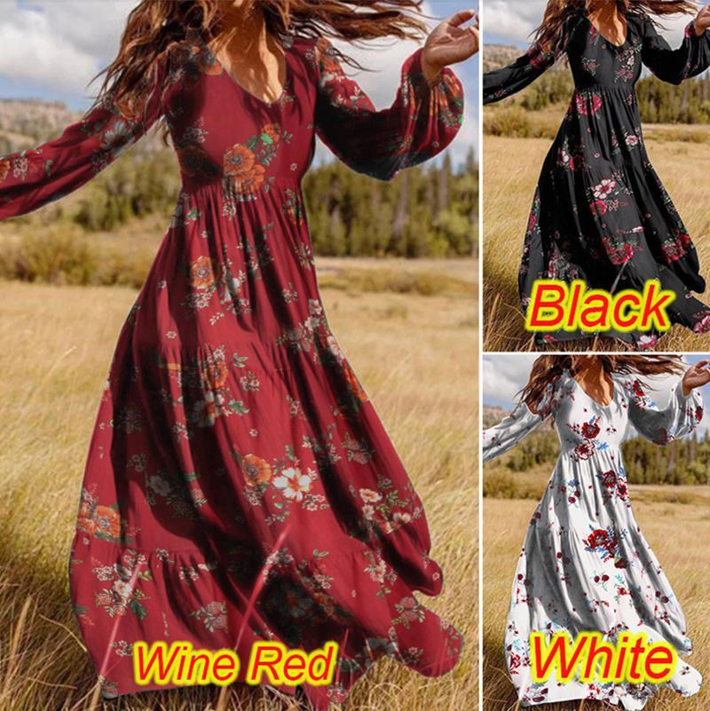Womens Ruffled vestidos casuais manga comprida para primavera de verão e outono Flores de flores Padrão Imprimir senhoras V-Neck Slow Slow Manga Impresso Dress
