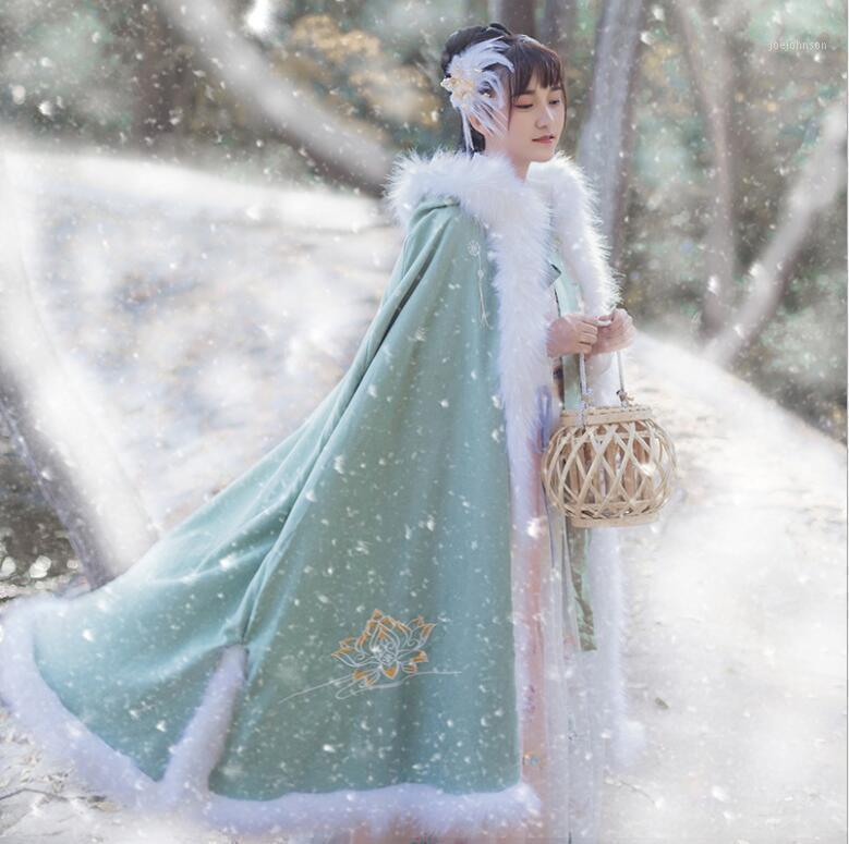 Оригинальная китайская зима молодая леди утолщенная ткань плюшевая большая шерсть хлопок теплый воротник древний капюшон накидки ретро винтажные женщины1