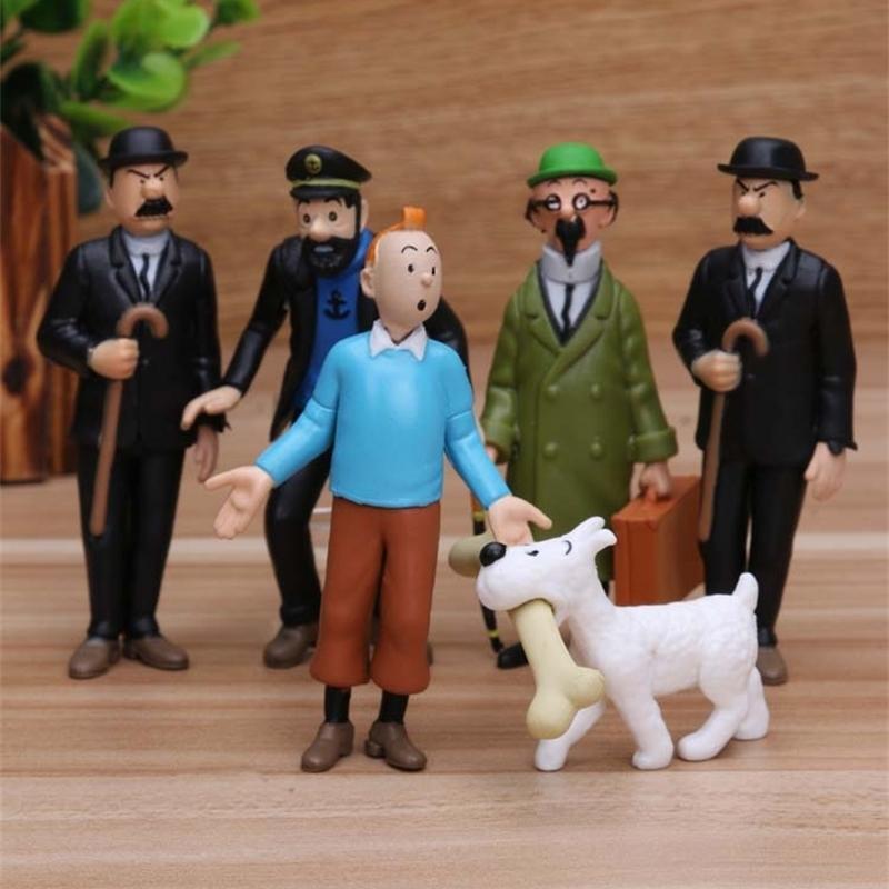 2020 Anime Cartoon 4- Le avventure di Tintin PVC Action Figures Modello da collezione Spedizione gratuita LJ200924