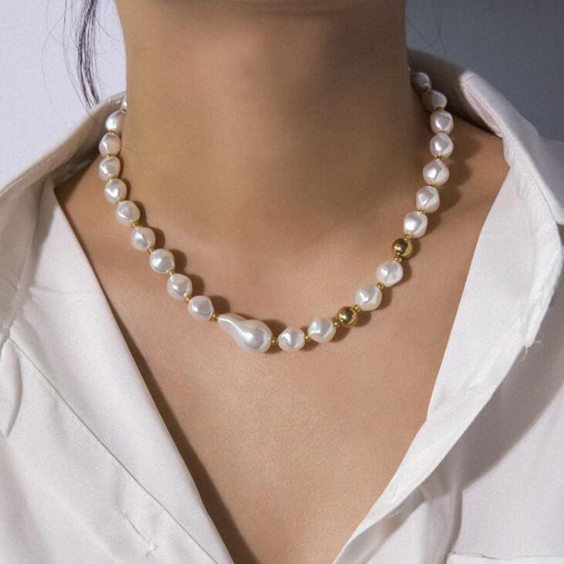أنيقة غير النظامية اليدوية تقليد لؤلؤة قلادة قلادة للنساء السيدات قصيرة المختنق بيان قلادة المجوهرات