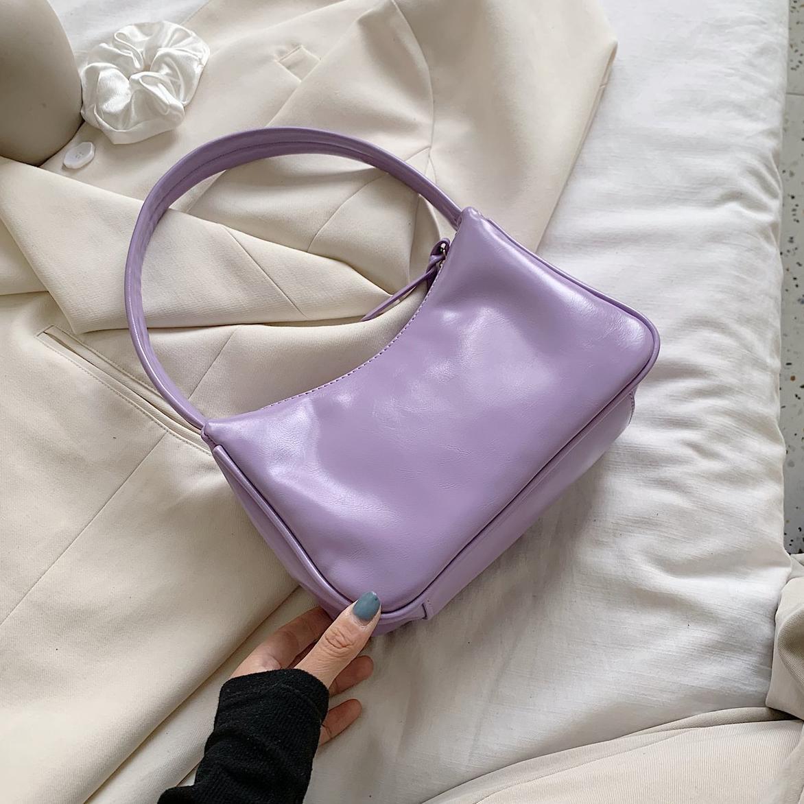 Color Solid Fashion PU для плеча и женщин 2020 кошельков Летние сумки Простые кожаные фиолетовые сумки Tote горячие женские рифды