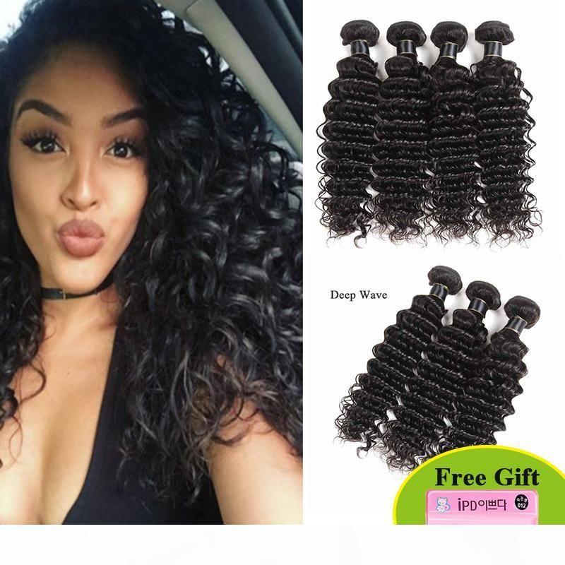 Норка бразильские девственные волосы 1 4 пучка Глубокая волна 8А класс 100% необработанные человеческие волосы плетены бразильские перуанские индийские глубокие волны