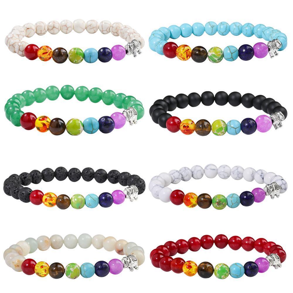 Bracelets de charme éléphant 7 chakra Bracelet en pierre naturelle Bracelet essentielle Diffuseur d'huile de yoga