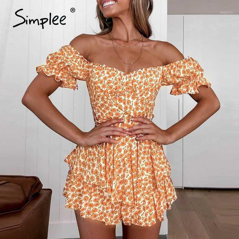 Simplee Casual Summer Beach Boho Donne Pagliaccetti Puff Off Playsuit Playsuit Rombers1