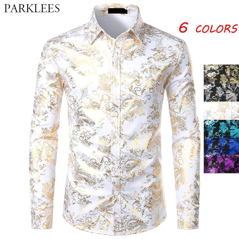 Beyaz Gömlek Erkekler Parlak Bronzlaşma Çiçek Erkek Gömlek Casual Slim Fit Erkek Parti Gömlek Düğün Erkekler Elbise Gömlek Uzun Kollu Chemise 201026