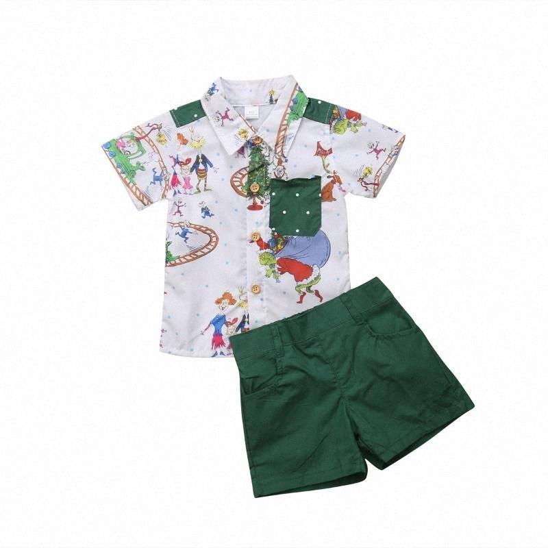 0-5T Christmas Toddler Baby Kids Boys T Shirt Tops+Short Pants Outfits Clothes Set HBzj#
