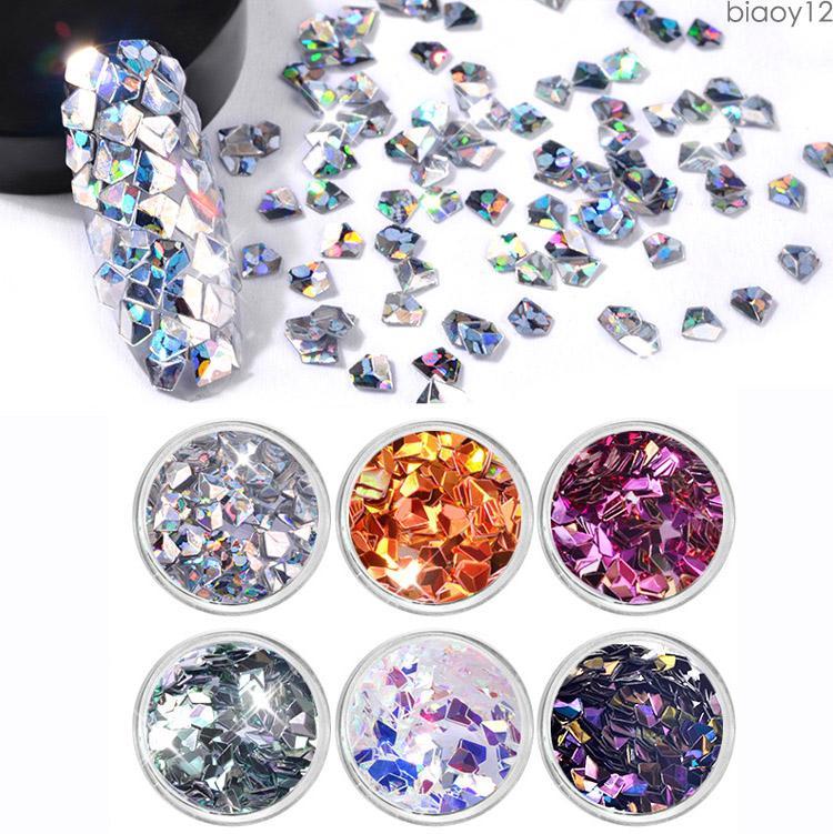 6Pcs/set Nail Art Glitters Sequins Geometric Diamond shape Flakes Sequins Mixed Colorful Mini Thin Paillette tips Decoration