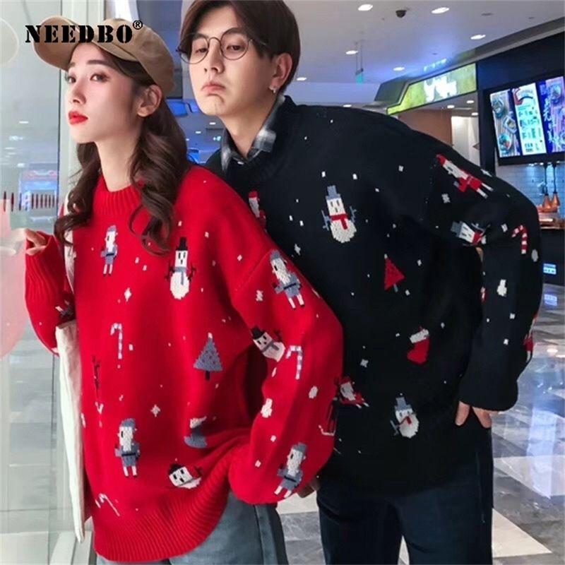 Рождественский вязаный свитер женщины мужчина негабаритных пуловер Navidad пара женщины свитер осень зима лоскутная свитер куртка 201221