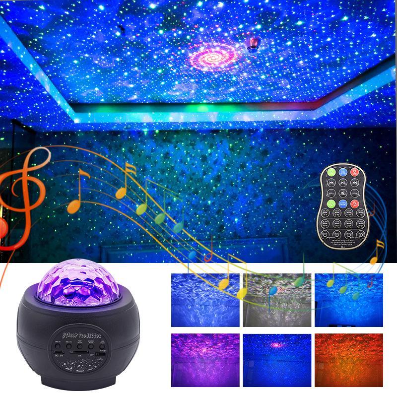 Новый лазерный луч Звездное небо лампы проектора Атмосфера Свет Bluetooth Музыка USB Звездное Пламя воды шаблон Led Night Light DHL Free