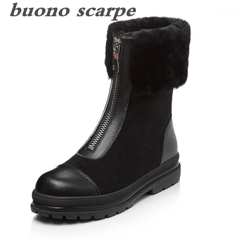 Botas novas de inverno de couro completo mais veludo espessamento botas das mulheres zíper frontal Flat1