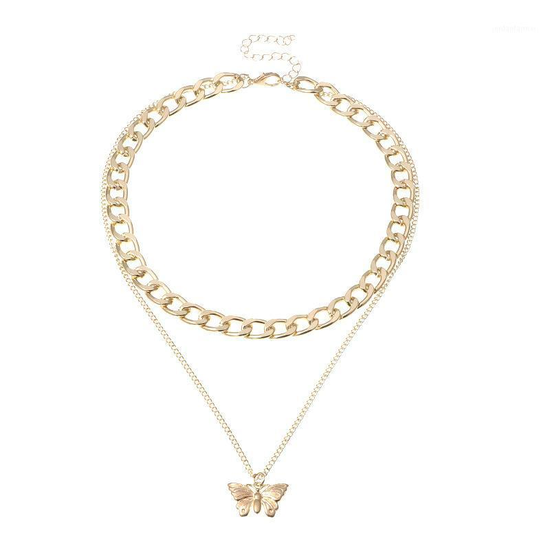 Aleación punk mariposa moda gargantilla collar para mujeres joyería collares amigos cadenas accesorios estética suspensión xl102531