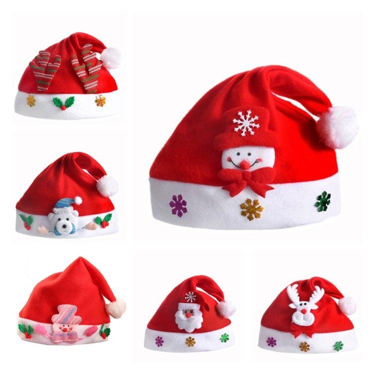 Рождество Hat Рождество мини красного Сант Клаус Снеговик Олень партия Декор Рождественские шапки украшение шапочка для детей взрослых T2I51618