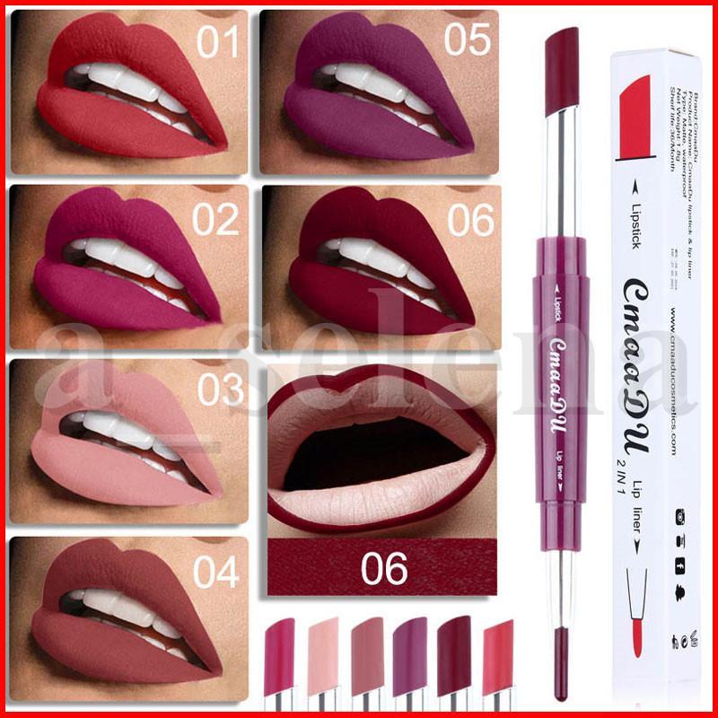 CmaaDu lápiz labial Lip Liner 2 en 1 Lápices atractivo belleza pigmento mate lápiz labial hidratante Kit de maquillaje de los labios 6 colores