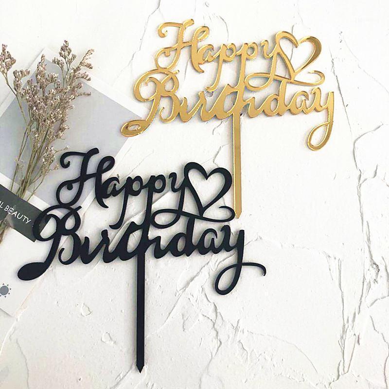 2020 Feliz Cumpleaños Acrílico Cake Topper Heart Magdalke Topper para niños Fiesta de cumpleaños Pastel Decoración Suministros Baby Shower1