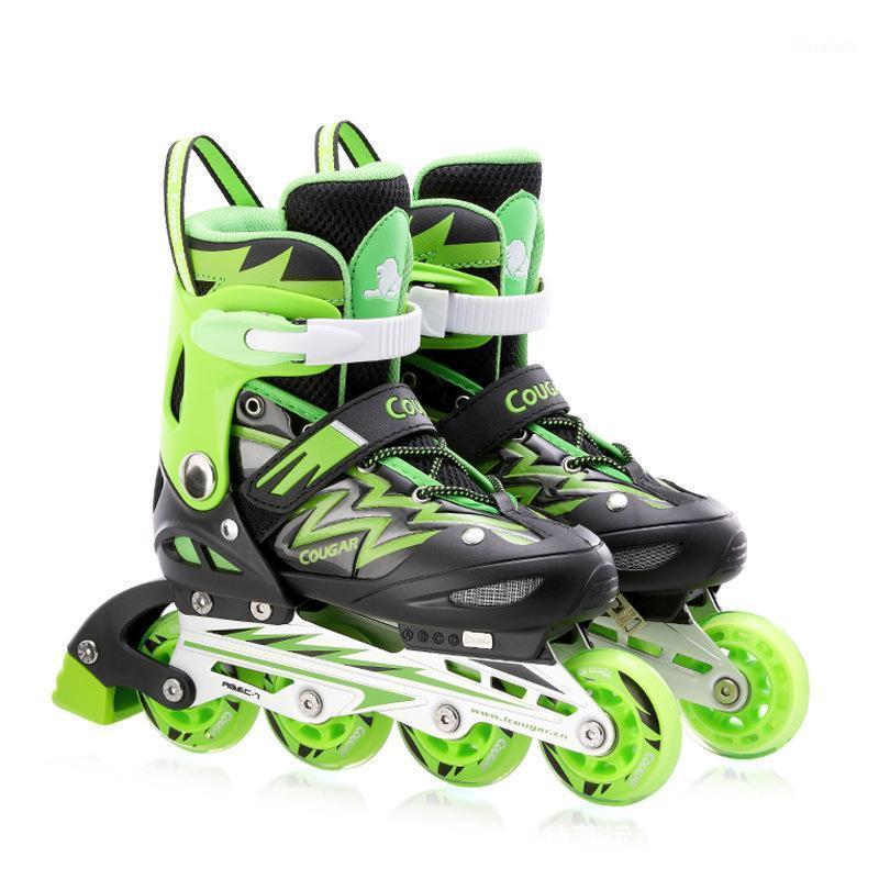 Профессиональные роликовые коньки Детские 4 колеса роликовые встроенные коньки одиночные Flash PVC регулируемая кататься на коньках 1