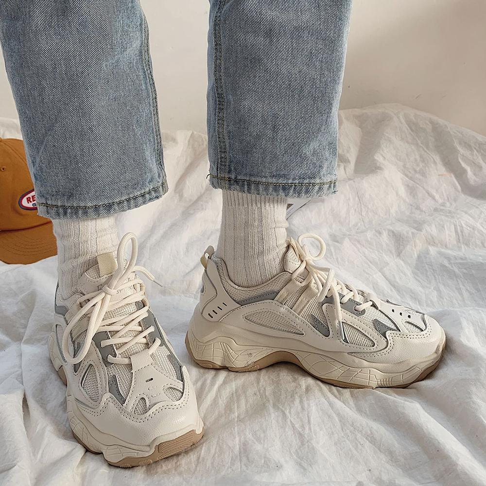 Zapatillas de deporte de las mujeres Moda de moda zapatillas de deporte chunky zapatos casuales de otoño reflexivo, cómodo suela gruesa, zapatos de plataforma de pisos blancos, 201105