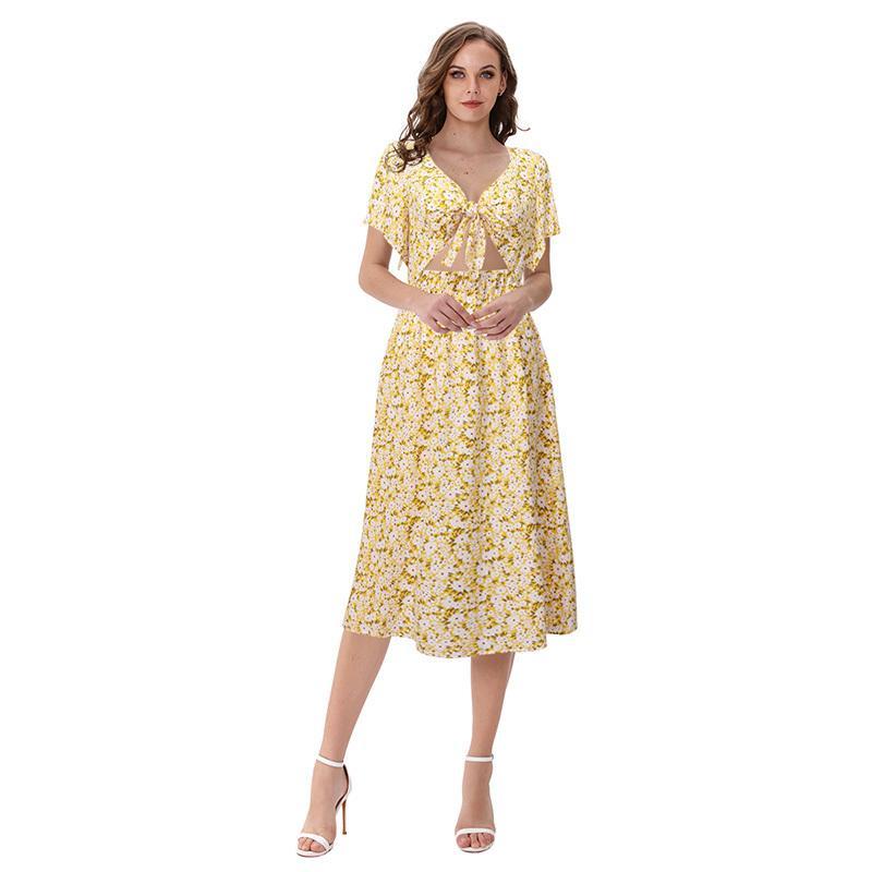 donne floreali di nuova estate abiti cravatta foro arco abito a manica corta elastica lunga spiaggia midi vestidos M30559