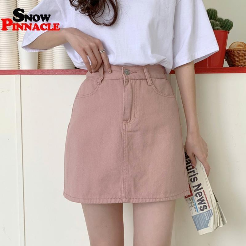 Женские джинсы юбка повседневная твердая A-Line мини-юбки Ummer высокая талия корейская черная юбка синий пакет бедра джинсы Q0119