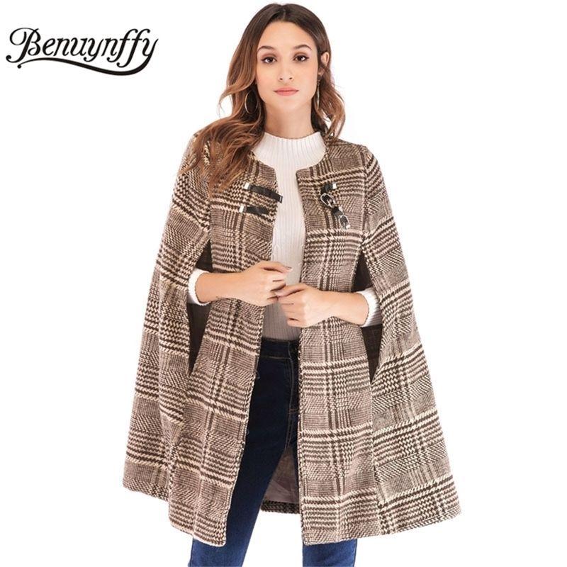 Benuynffy kadın Deri Toka Pelerin Kollu Ekose Tüvit Pelerin Ceket Sonbahar Kış Zarif OL Workwear Kadın Giyim Mont 201210
