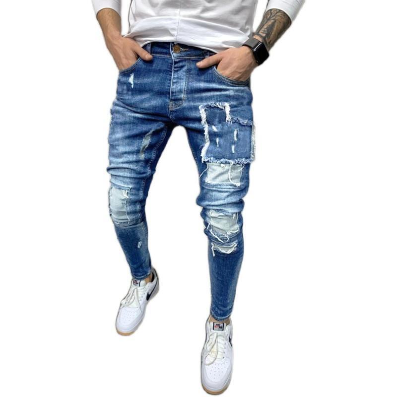 Erkek Tasarımcı Kot Moda Düzensiz Delikler Panelli Yıkanmış Erkek Kalem Pantolon Casual Erkek Giyim Cebi