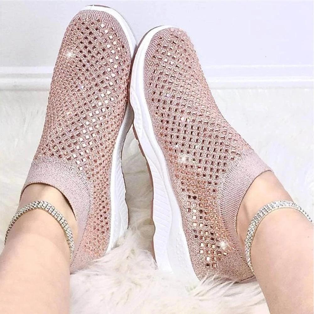 2021 NUEVOS Zapatillas de deporte Confort Verano Rhinestones transpirable Solk Slip on Walking Sports Casual Plus Tamaño Zapatos vulcanizados Jkhh
