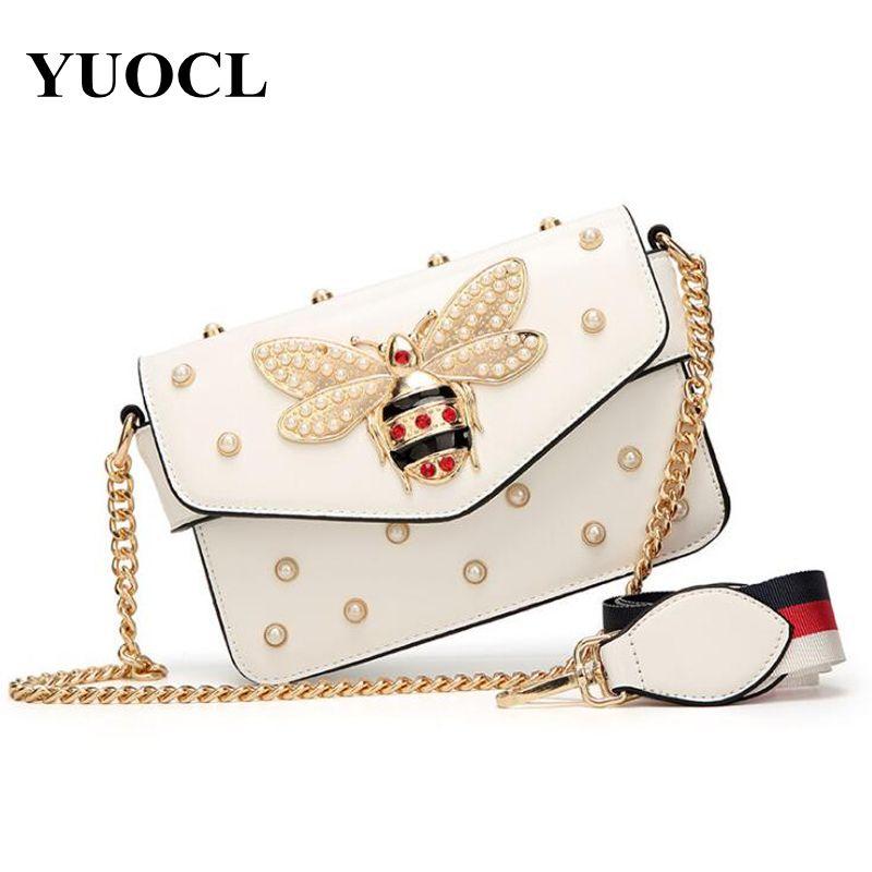 작은 PU 크로스 바디 가방 여성 2020 체인 꿀벌 럭셔리 핸드백 디자이너 유명한 브랜드 어깨 가방 손 주머니 여성 C1223