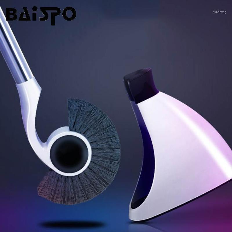 Baispo de aço inoxidável punho toalete titular de escova de piso de casa de banho com base WC magnético pincel set1