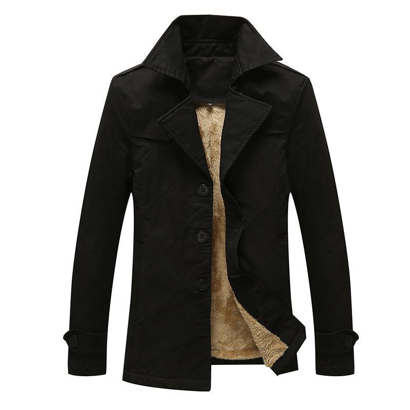 Brasão Longo Masculino Outono Inverno Homens New chegada Moda Casual preto trincheira vermelho Cores sólidas Magro Jacket Bonito