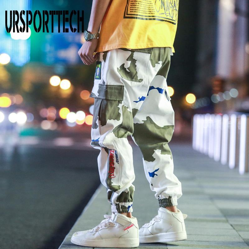 Calças de carga Plus Size 5XL HIP HIP Streetwear Mens Camuflagem Calças Calças de Algodão Calças Elásticas Cintura Elástica Harem Pant