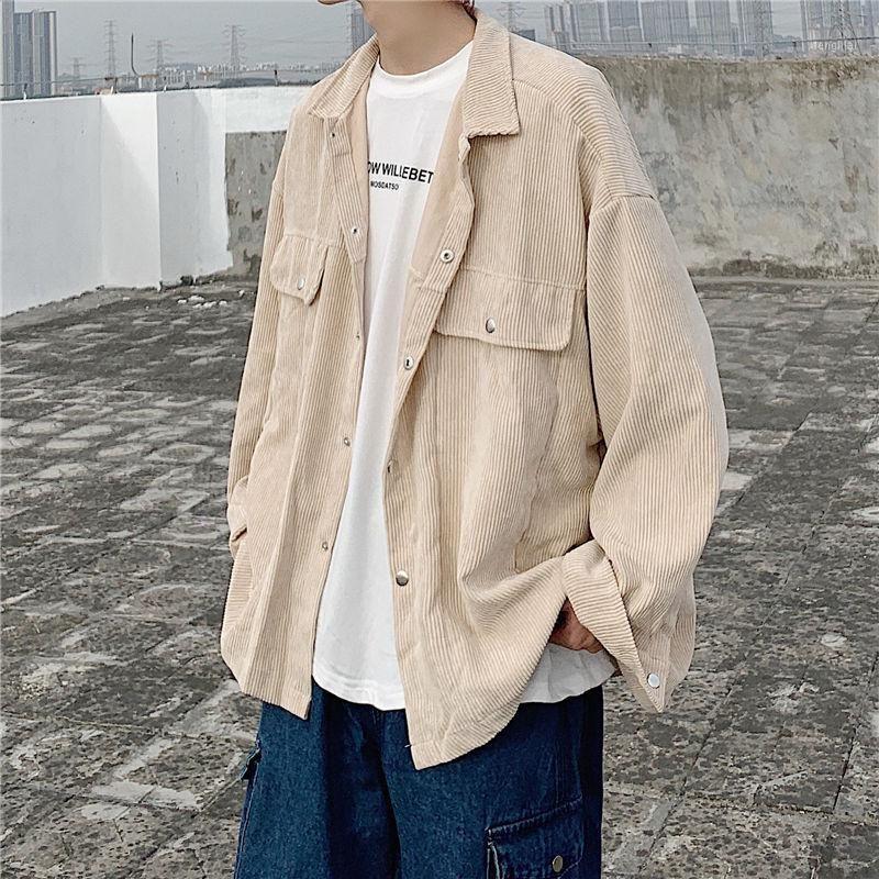 Осенняя корда Куртка мужская мода твердого цвета ретро повседневные куртки мужская уличная одежда дикий свободный хип-хоп бомбардировщик куртка мужчины M-XL1