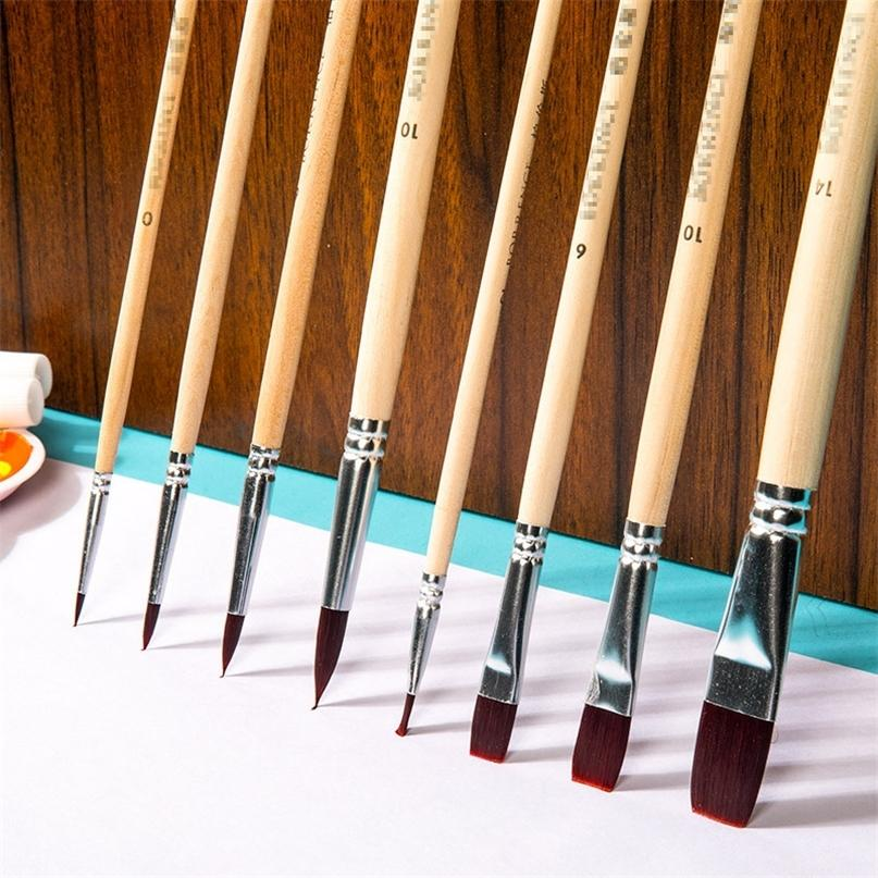 8pcs / Set Clean Eau Pôle Long Poignée Brosses Gouache Acrylique Pinceau Pinceau Nylon Aquarelle Brosse pour la peinture Art Fournitures 201226